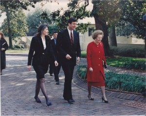 During the time George Allen was Governor, Lady Thatcher visited Virginia and spoke to the Virginia General Assembly.