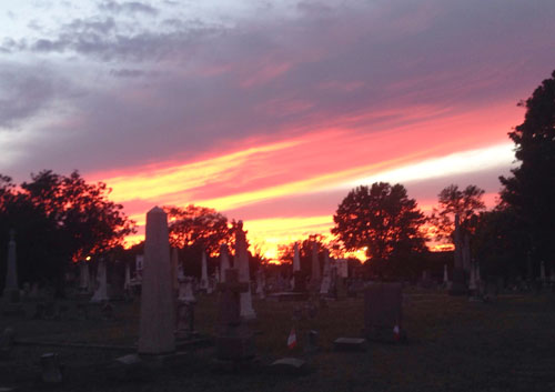 Tuesday's sunset seen from Shockoe Hill Cemetery.