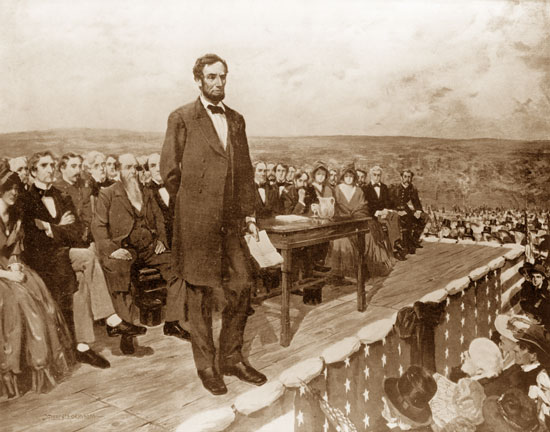 On this day in 1863, President Abraham Lincoln delivers the Gettysburg Address at a ceremony dedicating the military cemetery at Gettysburg, Pennsylvania.