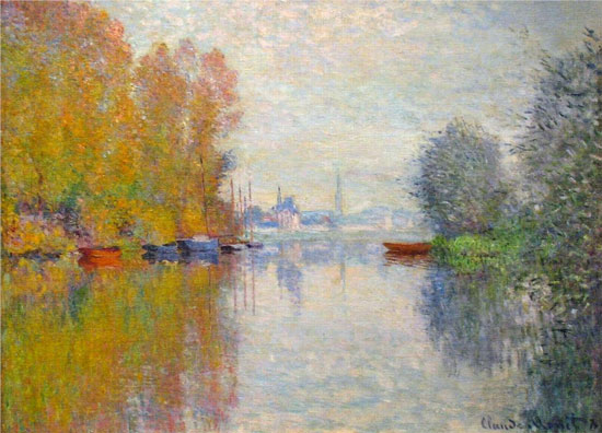 Autumn on the Seine at Argenteuil, 1873. French Impressionist painter Claude Money was born on this day in 1840.  Died 1926.