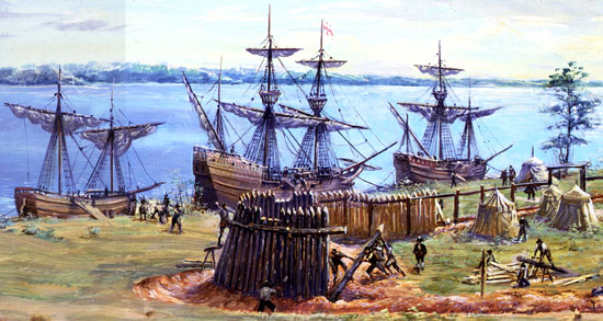 Building the first fort at Jamestown, May-June 1607 Source: National Park Service, Jamestown - Sidney King Paintings Gallery