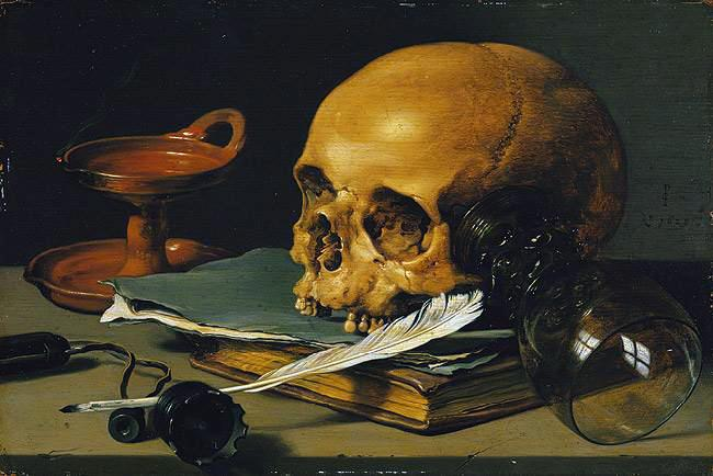 Still Life with a Skull and a Writing Quill, Pieter Claesz (1597/1598-1660)