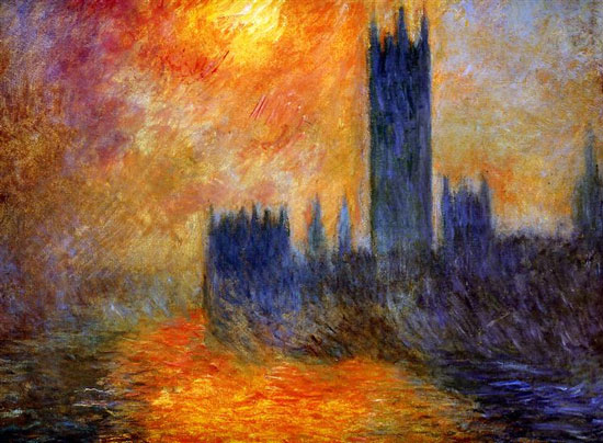 Houses of Parliament Sun. French Impressionist painter Claude Monet was born on this day in 1840. Died 1926.