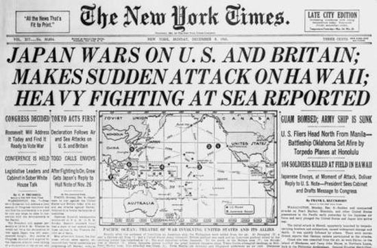 On this day in 1941 the Imperial Japanese Navy attacked the United States at Pearl Harbor, Hawaii drawing the United States into World War II.